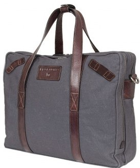 NAVY CANVAS/LÄDER LAPTOP BAG